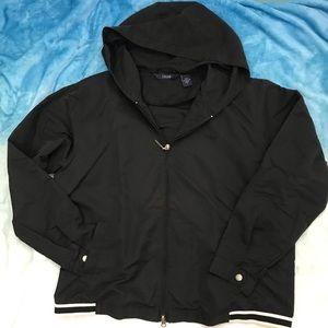 IZOD Ladies Black Windbreaker Jacket Size L